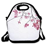 VTXWL Japanese Decor Cherry Blossom Sakura Tree Floral Branch Spring Season Theme Culture Image Lunch Tote Lunch Bag Office Reusable