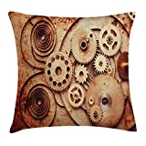 KLYDH Vintage Throw Pillow Cushion Cover, Mechanical Clocks Details Old Rusty Look Backdrop Gears Steampunk Design, Decorative Square Accent Pillow Case, 18 X 18 Inches, Dark Orange Beige