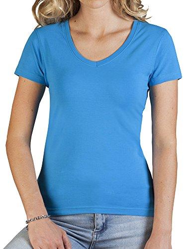T-shirt Slim Fit femme col V Turquoise