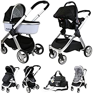 iSafe Marvel 3 in 1 Travel System with Car Seat & Carrycot & Luxury Changing Bag (Black Pearl)   13