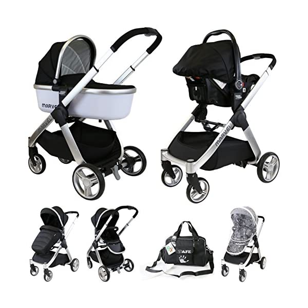 iSafe Marvel 3 in 1 Travel System with Car Seat & Carrycot & Luxury Changing Bag (Black Pearl) iSafe Complete With Free Carseat & Carrycot & Luxury Changing Bag Complete With Free Stroller Raincover Complete With Free Stroller Boot Cover 1