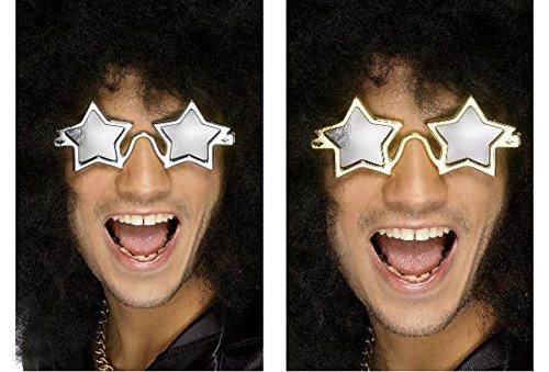 Smiffys Kostüm Zubehör Superstar Brille Stern Karneval Fasching Silber