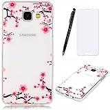 Lotuslnn Samsung Galaxy A3 2016 Coque,[fleur rouge] Épais mais léger TPU Silicone Case Cover Transparent pour Samsung Galaxy A3 2016 (Etui+ Stylus Pen + Tempered Glass Protective Film)