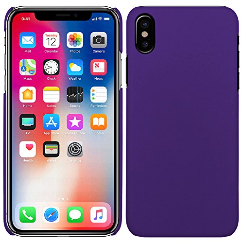 Apple iPhone X - Rubber Schutzhülle Gummiert Hybrid Hard Case Schutz Cover Etui Hülle Tasche in Schwarz - RT-Trading Lila