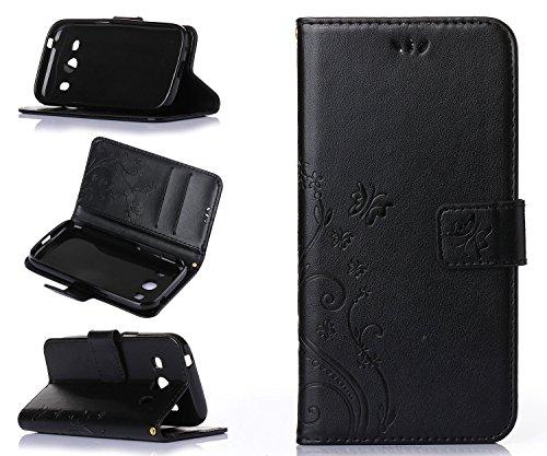 ZeWoo Folio Custodia in PU Pelle - R151 / Nero Nobile - per Samsung SM-G357 Galaxy Ace 4 4G/LTE (4.3 Pollici) Custodia Protettiva