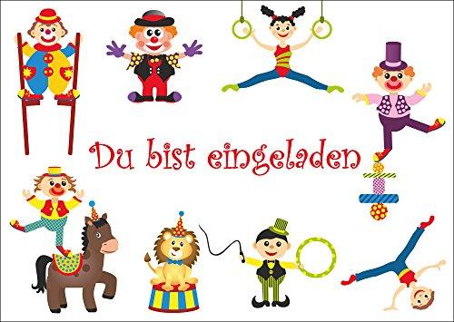 10-er-Set lustige Zirkus-Einladungskarten/Geburtstagseinladungen Kinder Mädchen Jungen zum Kindergeburtstag mit Clown oder zum Zirkusbesuch von EDITION COLIBRI (10729) - Drucken Clown