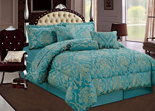 Imperial Rooms Luxury Jacquard 7 Piece Bedding Bedspreads Comforter Sets Bed Sets – Ruby (King / Teal) Include 1 Bedspread 2 Pillow 1 Valance Sheet 1 Cushion Cover 1 Decorative Pillow 1 Neck Pillow