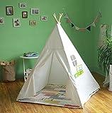 Tipi Zelt Kinderzimmer Faltbare Spielzelt Set mit Tragetasche Indoor / Outdoor Indianerzelt mit Fenster 100% Baumwolle + Natur Kiefer Teepee Kinderzelt (Weiß)