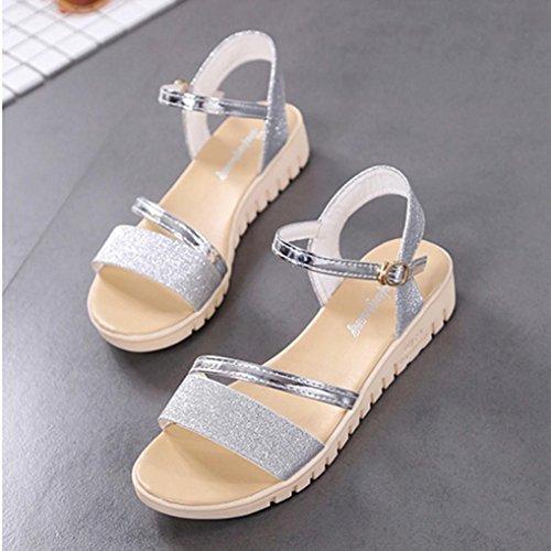 Kaiki Sommer Muffin Fisch Kopf Frauen Sandalen Plattform Einfache Schuhe flache Schuhe Silver