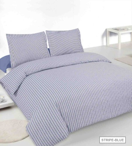 Blended Oxford (Oxford Stripe Double Easy Eisen Blended Baumwolle Steppbett Set in Marineblau)