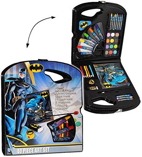 40 tlg. Set __ Stifte-Koffer / Malset - ' Batman ' - Malkoffer mit Stiften + Buntstifte + Wasser...