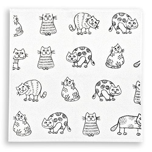 Frottee Küchen Schwarz Handtücher (KRACHT, Geschirrtuch, Handtuch, Frottier, Druckmotiv Katzen, Farbe weiss, Edition ziczac-affaires, Format 50x50 cm in 100% Baumwolle)