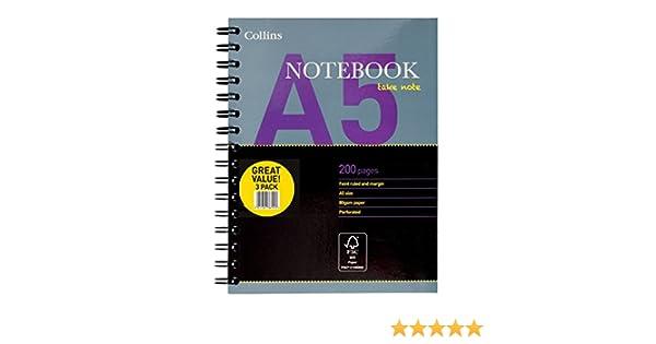 Nouvelle gamme Lot de 3 Collins Essential Bloc-notes reli/é de 200 pages format A5