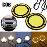 #10: Motoway -2pcs High Power COB Round White DRL Yellow Turn Light Car fog Light bulb For Maruti Suzuki Alto K10