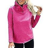 MEIbax Damen Stehkragen Volle Hülse Warmer Knopf Outwears Sweatshirt Kapuzenpullover Hoodie Langarmshirt