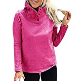 Damen Herbst Hoodies Frauen Polo-Kragen Kapuzenpullover Klassisch Langarmshirts Hoodies Tops Bluse Oberteil T-Shirt, Schwarz Blau Dunkelgrau Grau Rot Khaki S-XXL.