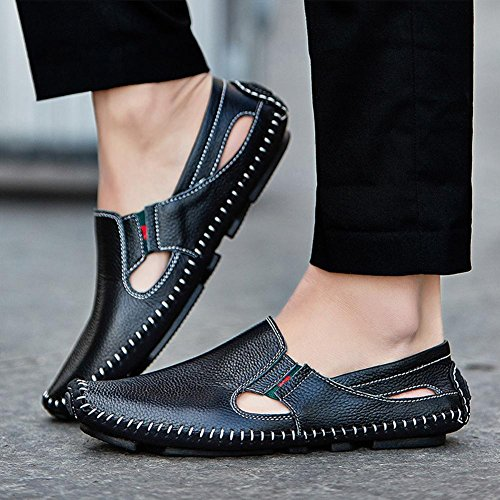 Sandali di cuoio di cuoio pattini Handmade della spiaggia di sabbia di estate modo e comodo da indossare Black