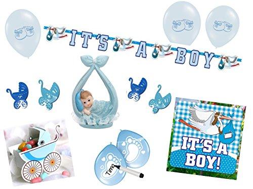 Partydekoset Babyparty Baby Shower Junge blau für 26teilig Pullerparty Baby Geburt Babyparty Komplettset Tischdeko Party Geschirr