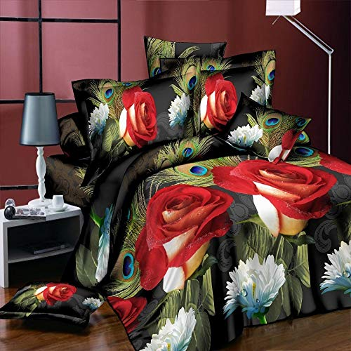Baohu-bedding Ultra Soft 300TC Qualität Home/Hotel 3 / 4pc Bettwäsche King Size Peacock-Red Rose Ultra Soft Hochzeit Beddengoed Bettbezüge Bettwäsche-Sets (Size : King 4pcs)