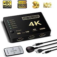 Conmutador HDMI 4K, laptone inteligente 5Puertos HDMI Switcher divisor de, caja, 4K apoyo, Full HD 1080p, 3d con mando a distancia por infrarrojos