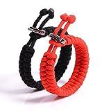 The Friendly Swede Fish Tail - Juego de 2 pulseras de supervivencia, cuerda de paracaídas, cierre metálico, ajustable, resistencia de hasta 159 kg, para muñecas de 17-21,6 cm, incluye embalaje Black + Red Talla:9.5-inch