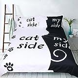 ktlrr mit schwarz-weiß-Bettwäsche-Set mit Hund/Katze auf an meiner Seite Paar Bettbezug mit Kissenbezug-Set aus 100% Mikrofaser-Home, 3Stück, Bettbezug mit 2Kissenbezüge, 1Stück (keine Bettdecke mit Blatt, Cat Side My Side, Single(55