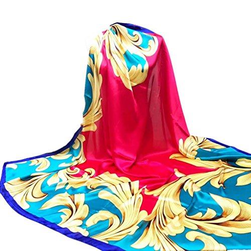 Drucken Seide Mütze (YunYoud Damen Drucken Hijab Schals Frau Schön Lange Wickelschal Seide-Satin Platz Schal Weich Schal Super Komfortabel Schals (140*140CM, Rot))