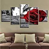 Pmhhc Stampe In Bianco E Nero Per Soggiorno Decor Wall Art Pittura 5 Pezzi Romantico Rosa Rossa Fiori Quadri Su Tela Poster Modulare-30X40Cmx2 30X60Cmx2 30X80Cm