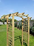 naturholz-shop Eingangspergola 180x70x210 cm Pergola aus Holz mit Rankelementen Rundbogen