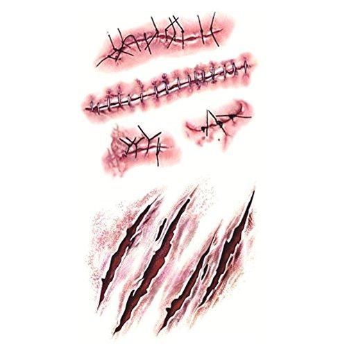 Eleery 10 pcs Zombie blutigen Narben und Stiche Kostüm Tattoos Makeup Aufkleber für Party Diba, senden Teams, Halloween (Größe: 10.5 X 6cm)