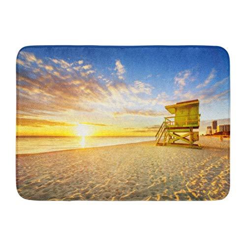 Fußmatten Badteppiche Outdoor / Indoor Fußmatte Gelb Sonnenuntergang Miami South Beach Sonnenaufgang Rettungsschwimmer Turm und Küste Bunt Wolke Blauer Himmel Orange Badezimmer Dekor Teppich Badteppic