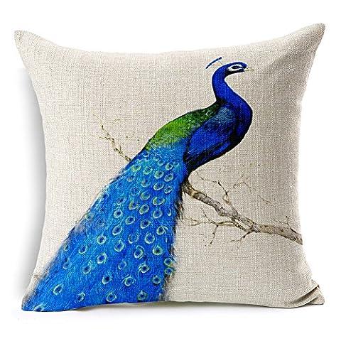 Blue Peacock Cotton Linen 17.7inch Square Decorative Throw Pillow Case Cushion Cover