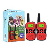 Radioddity Handheld PMR446 Walkie Talkies For Kids, Two-Way Radio Transceiver For Children, 8 Channels, the Best Gifts for Boys & Girls, 1 Pair (2 Pcs) (Red)