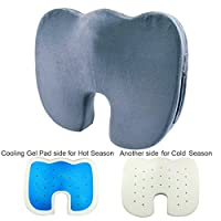 Gel Memory Foam Cushion Seat Coccyx Orthopedic Seat Cushion Gel Cushion Pressure Relief for Back, Sciatica and Tailbone Pain Relief As Office Chair Cushion, Car Seat Cushion or Wheelchair Cushion