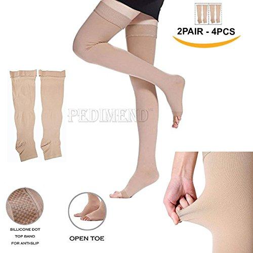 PEDIMEND Kompressionsstrümpfe (2 Paare – 4 Stück), Anti-Ermüdungserscheinung, Abnehmen von Kompressionsstrümpfen, effektive Linderung bei Verspannungen & Muskelkater - Bietet Linderung bei müden oder schmerzenden Beinen, ideal für die Behandlung von Schwellungen, Krampfadern, Ödemen, Schwangerschaft - für Männer und Frauen