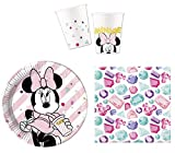 JT-Lizenzen Premium Party-Geschirr Set Disney Minnie Maus - Teller Becher Servietten (8 Personen)