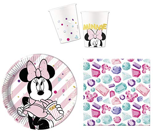 JT-Lizenzen Premium Party-Geschirr Set Disney Minnie Maus - Teller Becher Servietten (16 Personen) - Dekorationen Maus-party Minnie
