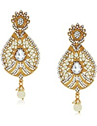 Spargz Designer Gold Plated Alloy MetalAD Stone Dangle Earring For Women AIER 474