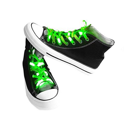 easyDecor (1 par Cordones LED Se ilumina 3 modos Batería Luz intermitente Cordones de zapatos para bailes de fiesta Decoraciones corrientes de hip-pop (verde)