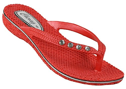 D3680 Toe post diamante gel sandals red