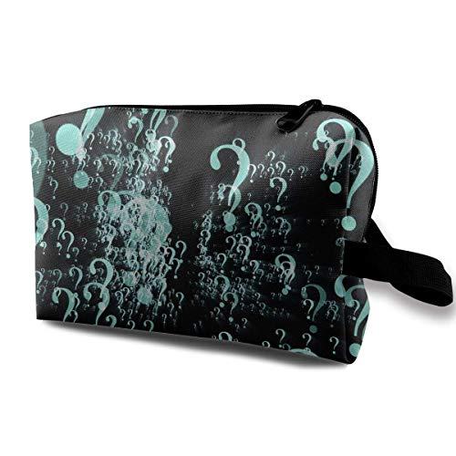 Question Mark Pattern Cosmetic Bags Makeup Organizer Bag Pouch Zipper Purse Handbag Clutch Bag