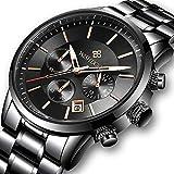 Reloj Negro Fino para Hombre Lujo Moda Relojes de Pulsera para Hombres Vestir Casual Deportes Impermeable Reloj de Cuarzo para Hombre con Banda Negro de Acero Inoxidable Relojes Hombre