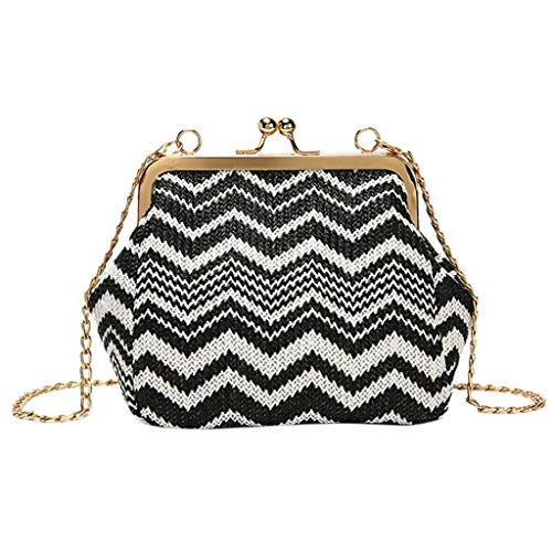 VADFLOD Handgemachte Stroh gewebte Taschen geometrische Muster Retro Vintage Kiss Lock Frame Schulter Crossbody Taschen Chain Bag, schwarz