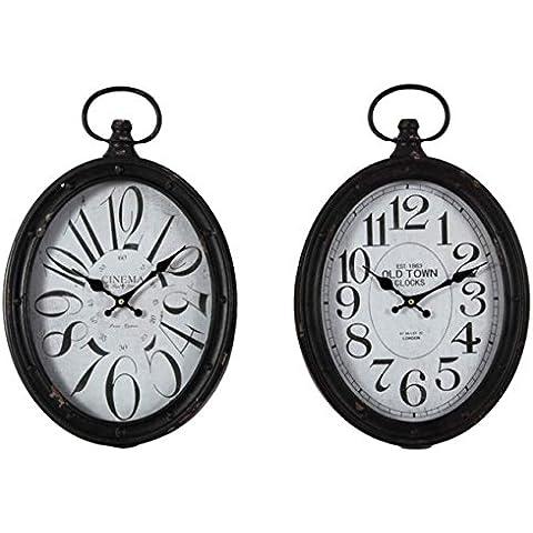 TxT Reloj de pared ovalado, diseño con números mezclados con Perchero de metal, color blanco envejecido 49 x 32 x 6