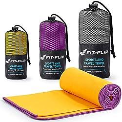 Gelb mit lila Rand, 1x 80x40cm | microfaser handtücher für Haare microfaser handtücher für Hunde microfaser handtücher Fitness
