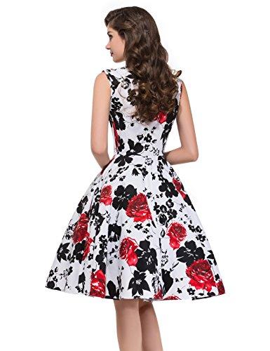 Vintage 1950er Floral Pattern Festliche Kleid Mehrer Farbe Partykleid Farbe 7