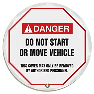 Accuform Signs KDD715 STOPOUT Vinyl Steering Wheel Message Cover, ANSI-Style Legend DANGER DO NOT START OR MOVE VEHICLE - THIS COVER MAY ONLY BE REMOVED BY AUTHORIZED PERSONNEL, 16 Diameter, Red/Black on White by Accuform