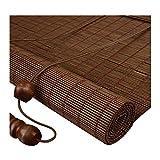 ZEMIN Bambus Rollo Bambusrollo Innen/Außen Installieren Infrarot Schutz Vorhang Anpassbar Handheben, 3 Farben, 22 Größen