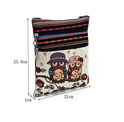 BLxi Eulen-Canvas Umhängetasche Reißverschluss Tasche Schultertasche Messenger Bag