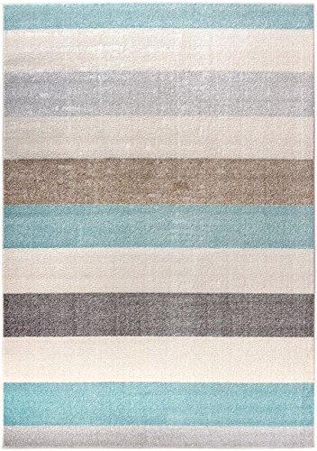 Marine-blau-schlafzimmer (Designer Moderner Teppich Marine Stripes Streifen blau grau beige maritim in 4 Größen ideal für Kinderzimmer Wohnzimmer jugendzimmer oder Schlafzimmer (140 x 200 cm))